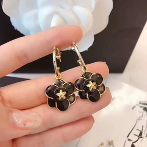 Wholesale 2019 early spring new Camellia black oil ear hooks Featured original consistent brassin