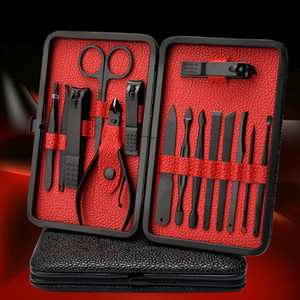 18Pcs Pro Manicure Set tool Nails Clipper for all extension Pedicure set Kit Utility Scissors Tweezer Knife Nail Art Tools kits DHL Free