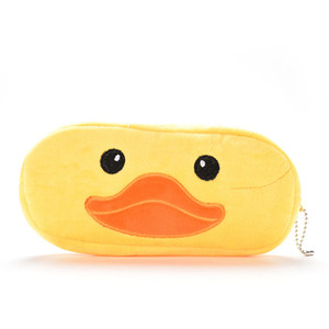Wholesale Cartoon Animal Yellow Duck Plush Pen Pencil Bag Case Cosmetics Coin Purse Wallet Holder Pouch For Girls