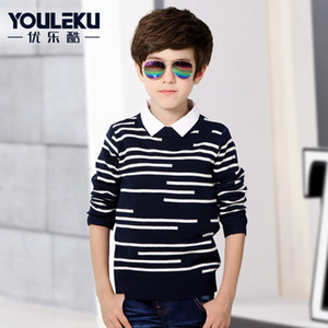 Wholesale 2019 Autumn Knitted Boys Sweater Kids Clothes Top Boy Cardigan Boy s Sweater Striped White Black Size