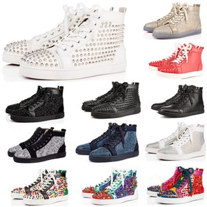 Designer fashion mens Red Bottoms shoes Studded Spike Flat sneakers For Men Women glitter Party Lovers Genuine Leather casual rivet Sneaker on Sale