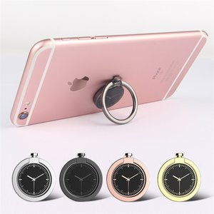 Wholesale clock cell phone for sale - Group buy 200pcs Universal Luxury Degree Metal Clock Mobile Phone Finger Ring Stent Cell Phones Holder