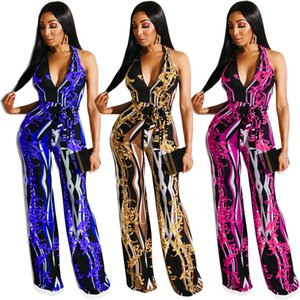 Wholesale 2019 Women Summer Chain Vintage Print Jumpsuits Sleeveless High Waist Wide Leg Jumpsuit Night Club Party Romper Beach Street wear Playsuit