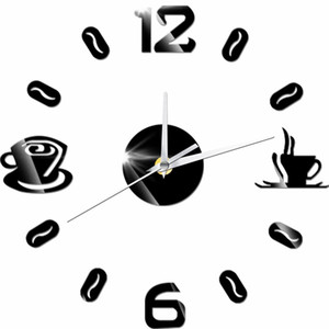 Wholesale 2018 NEW D DIY Digital Number Coffee Cup Acrylic Clock Self adhensive Quartz Non ticking Wall Clock Kitchen Home Decor Horloge