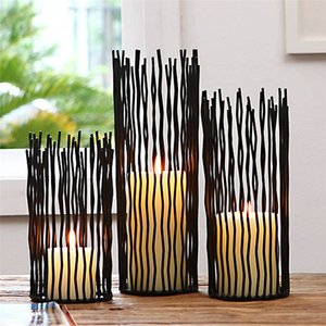 Wholesale Hollow Black Bohemian Style Metal Desk Stand Candle Holders Wedding Candlestick Morocco Tealight Holder Home Decoration