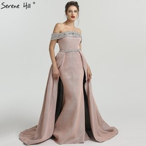 Wholesale 2019 DuBai Boat Neck Beading Luxury Evening Dresses Bling Designer Off Shoulder Sexy Evening Gowns Real Photo LA6549