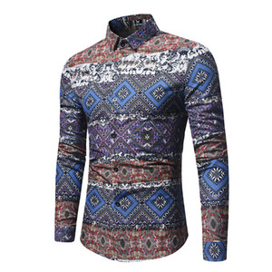 Wholesale Traditional Ethnic Print Shirt Men Fashion Vintage Shirt Mens Slim Fit Long Sleeve Button Down Dress Shirts Camisas Hombre