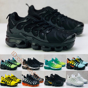 Wholesale VaporM Plus TN Kids Shoes For Boys Girls Running Sneakers Triple Black Shark Aurora Green Bumblebee Lemon Lime Baby Trainers Size