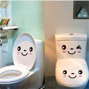 Wholesale 3PCS SET DIY Smile Face Mural Stikers Toilet Seat Stickers Bathroom Decal Vinyl Mural Home Decor Wall Sticker cm