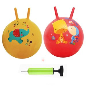 Wholesale Thickened Horn Jumping Ball Play Toys Silicone Baby Kids Inflatable bouncing Ball interactive game Race for Baby Pump