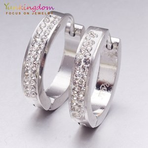 Wholesale Yunkingdom popular crystal earrings Stainless Steel silver color hoop earrings for women fashion jewelry