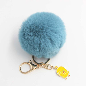 Wholesale Cute Animal Pendant Small Yellow Duck Hair Ball Key Chain Bag Car Pendant Alloy Duckling Plush Keychain