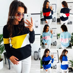 Shirt Time Leisure Autumn Sweater Round Collar Long Sleeves Spell Colour Jacket T Shirts on Sale