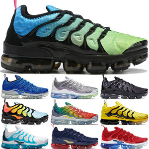 Wholesale Aurora green Plus tn running shoes men womens lemon lime White Blue tiple black game royal eggplant luxury designer sneakers mens trainers
