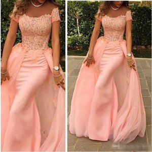 Wholesale Removable Skirt Prom Dresses 2018 Pink Lace Appliques Off Shoulder Short Sleeve Long Sheath Evening Dress Formal Party Gown Plus Size
