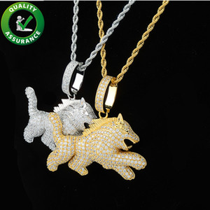 Wholesale Hip Hop Bling Chains Jewelry Men Luxury Designer Necklace Diamond Wolf Dog Mens Iced Out Hip Hop Chain Pendants Rapper Fashion Accessories