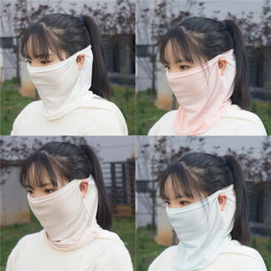 Wholesale Suncreen Scarf Spring Summer Bib Large Mask Female Outdoor Travel Neck Breathable Hair Band Full Face New Anti UV Chiffon Thin Veil Bandana