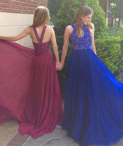 Wholesale Luxury Prom Dresses Jewel Neck Beaded Top Chiffon Sweep Train Sexy Back Evening Dresses Party Pageant Gowns