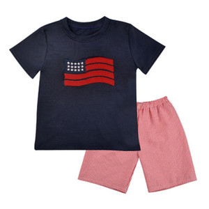 kinder-flaggen-shorts großhandel-Baby T Shirt Set Kids Sterne Nationalflagge Short Sleeve Short Set amerikanische Flagge Independence National Day USA Juli zweiteiliger Anzug