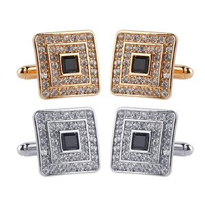Wholesale Men Shiny Rhinestone Square Cufflinks Cuff Links Evening Party Accessories