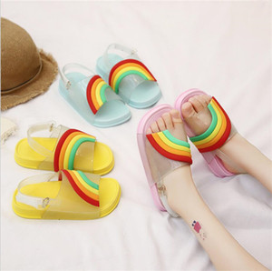 Wholesale Summer Kids Rainbow Candy Color Sandals Girls Leakage Toe Sandals With Buckle Strap Soft PU Travel Beach Slippers Bath Water Shoes A51302