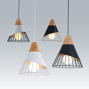 Nordic Wood Pendant Light Slope Lamps Wood Aluminum Single Hanging Lights for Restaurant Bar Coffee Dining Room