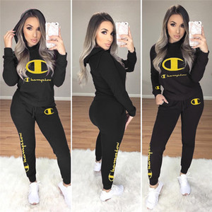 Wholesale Women Autumn Winter Hoodies Suit Champion Brand Outfits Embroidery Letters Hoodies Tops Pants Pieces Sets Trousers Sportswear Suits C8206