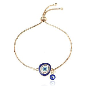 Wholesale 2019 Low Price Good Luck Hamsa Hand Charm Blue Evil Eye Bracelet Jewelry Turkey Fatima Hand Handmade Gold Color Chain For Woman Gift