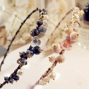 Wholesale Fashion Crystal Bead Flowers Cloth Hair Hoop Headband Women Girls Small Fresh Style Hair Band Accessories