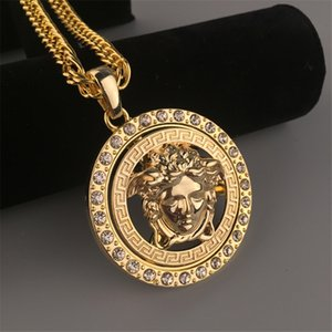 Wholesale Medusa Pendant Necklaces with Crystal Tide Brand Alloy Necklace for Men Hip Hop Style Men s Necklace