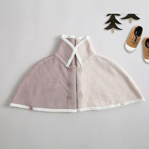Wholesale Everweekend Sweet Baby Girls Knitted Crochet Capes Poncho Jackets Batwing Sleeve Candy Pink Beige Color Spring Autumn Outwears