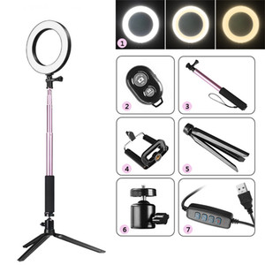 Wholesale Photography Dimmable LED Selfie Ring Light Youtube Video Live k Photo Studio Light With Phone Holder USB Plug Tripod