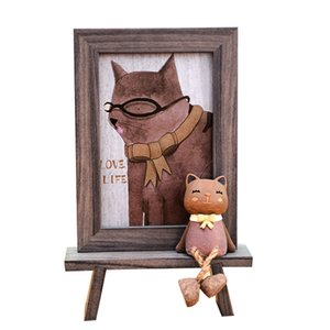 Wholesale Nordic Style Photo Frames For Picture Cute Cartoon Cat Office Table Frame inch Imitation Wood Grain Color Picture Frames Gifts