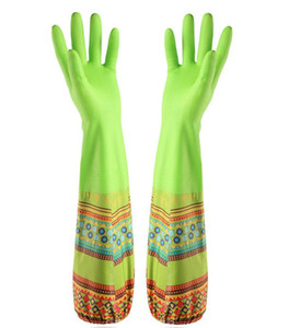 Plus velvet thick dishwashing gloves waterproof rubber laundry rubber latex sleeve plastic kitchen kitchen gloves