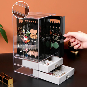 Wholesale Acrylic Storage Boxes Jewelry Display Storage Drawer Holder Cosmetics Box Makeup Organizer Container for rings earrings