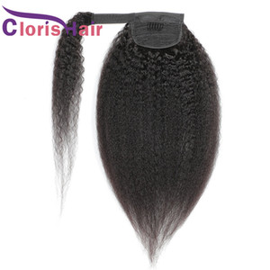 Kinky Straight Ponytails 100% Brazilian Virgin Human Hair Wrap Around Clip In Extensions For Black Women Coarse Yaki Real Pony Tail 100g