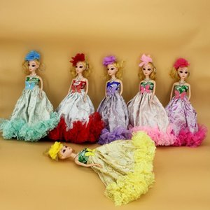 Wholesale 30CM D eye joint flower cloth baba confused doll big wedding dress key ring pendant bride doll multicolor mix and match Very cute workmansh