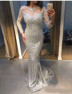 Sparkly Sliver Sequins Crystal Prom Party Dresses Illusion Jewel Neck Long Sleeves Beaded Zipper Back Sweep Train Mermaid Evening Gowns on Sale