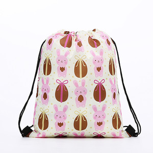 Wholesale Easter Bunny Bundle Gym Bag Polyester Fiber Egg Print Backpack Portable Cartoon Radish Daypack Lovely Shopping ECO Friendly gcb1