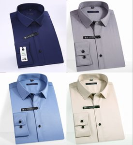 Wholesale Classic Non ironing Men Dress Shirts Long Sleeve Plus Size Formal Groom Wear Business Male Work Office Shirts