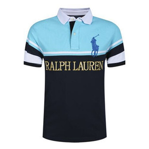 Top Quality Fashion Designer RL RACING Brand POLO #018 US Off Luxury Summer Mens Short sleeved Casual White Embroidery Stripe Lapel T-Shirt