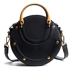 New arrivals Circular Scrub Calfskin PU Leather Retro Metal Ring Handbag Small Round Women Shoulder Mini Cloe Bag