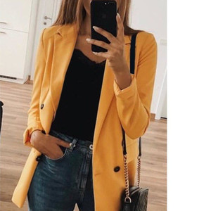Wholesale 2019 Overcoat Woman Solid Color Cardigan Long Fund Man s Suit Loose Coat Woman