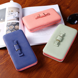 Wholesale peach pencil case resale online - Women s wallet bow long pencil case clutch bag student purse Korean version of the lunch box bag mobile phone bag