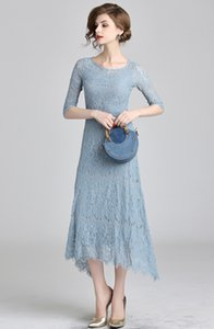 2019 Blue Women Elegant Eyelash Lace Irregular Dress Fashion Hollow Out Long Dress Autumn Korean Plus Size Slim Casual Party Vestidos
