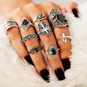 Wholesale celtic knot band ring resale online - Bohemian Creative Set Band Ring Sets Cross Crown Knot Black Rhinestone Designer Jewerly For Women Midi Finger Alloy Ring Accessories