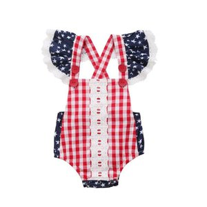 Wholesale Newborn Baby Stars Romper Infant Baby Lace Striped Strap Tank Romper Kids Designer Fly Sleeve Jumpsuit Summer Baby American Flag Costume