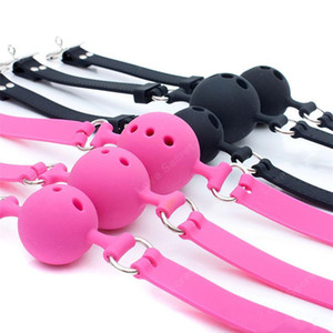 Wholesale S M L Size Full Silicone Ball Gag for Women Adult Game Head Harness Mouth Gagged Bondage Restraints Sex Products Sex Toy