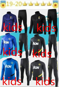 Wholesale 19 kids manchester training suit Lukaku RASHFORD football jacket sportswear blue foot jogging POGBA United Soccer Tracksuit