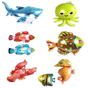 Wholesale Shark Seahorse Fish Balloon Marine Life Aluminum Film Octopus Great White Shark Inflatable Children Toys Holiday Birthday Party Decoration